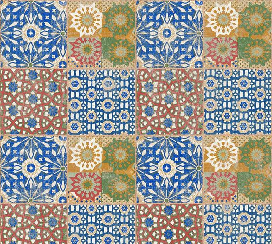 Non-Woven Wallpaper Moroccan Tiles orange blue 36895-1 online kaufen