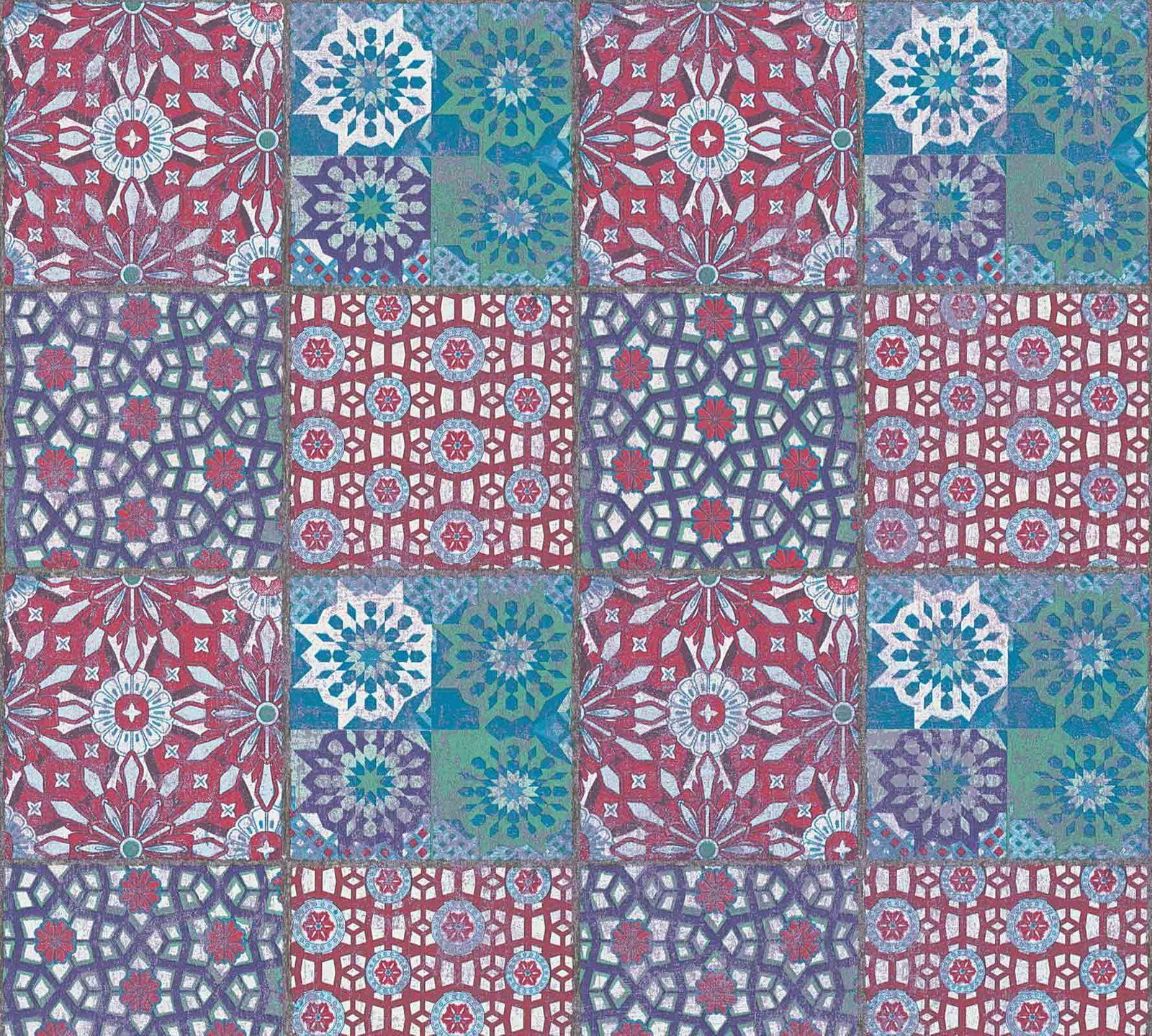 Vliestapete marokkanische fliesen rot t rkis 36895 2 for Vliestapete auf fliesen