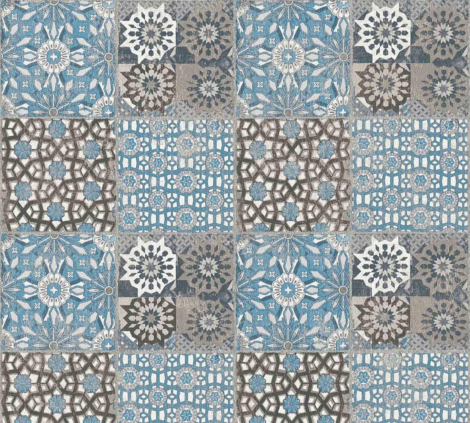 Vliestapete marokkanische fliesen blau schwarz 36895 5 for Vliestapete auf fliesen