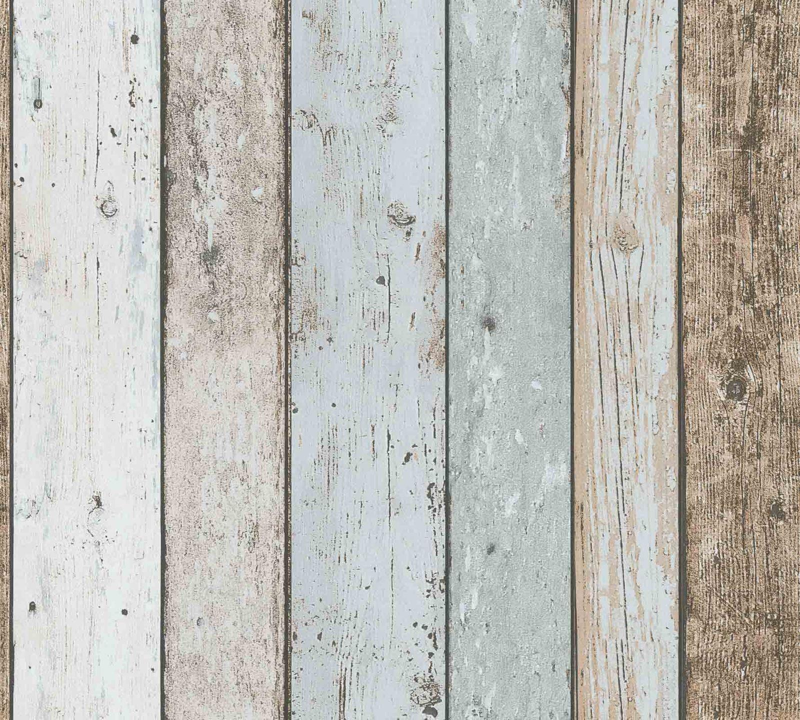 Wallpaper Wood Panel Vintage Cream Blue Brown 8999 27