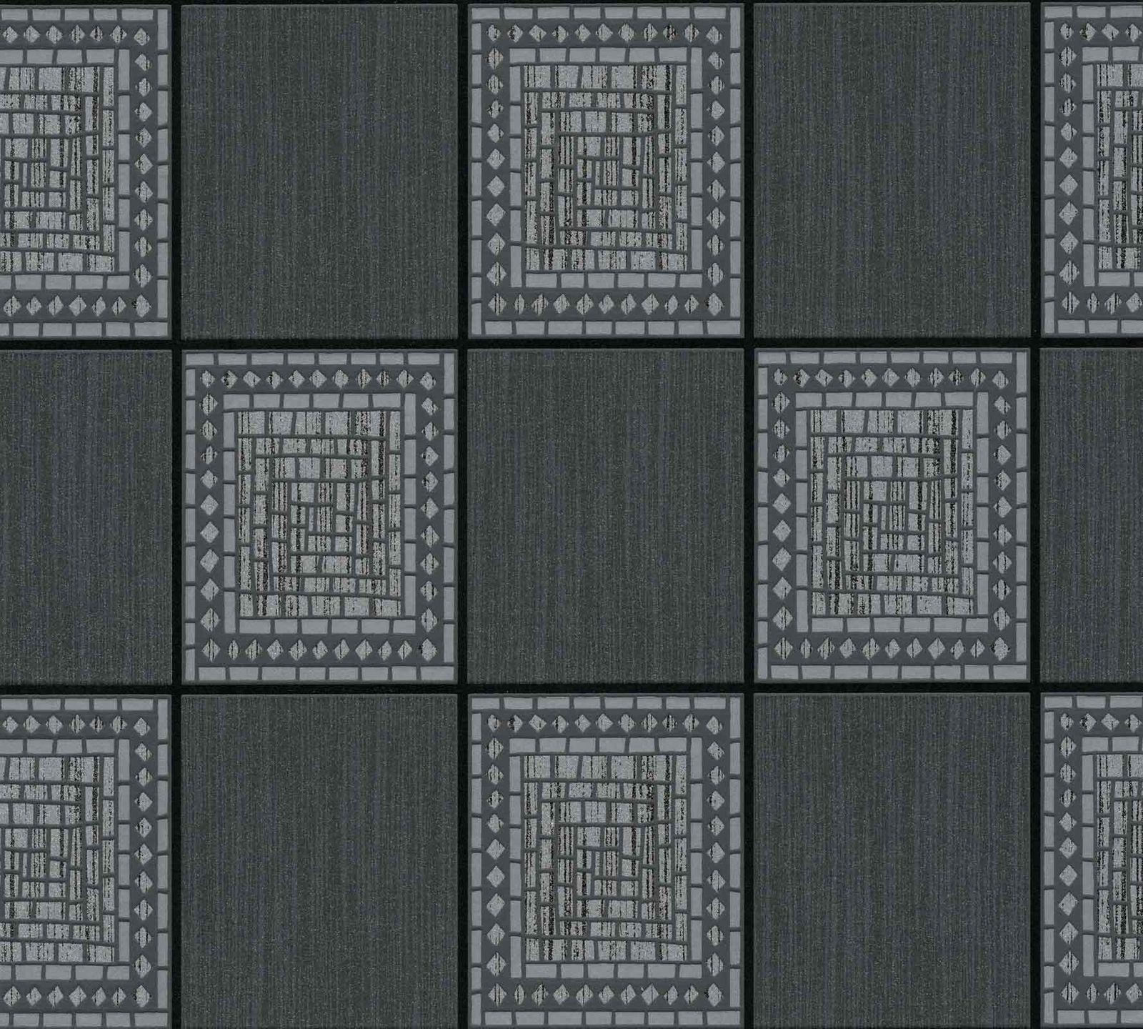 Vlies Tapete Beton Mosaik Fliesen Kacheln grau silber schwarz anthrazit metallic