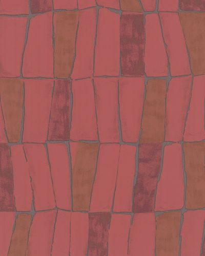 Non-woven Wallpaper Grid Abstract red silver Metallic 31223