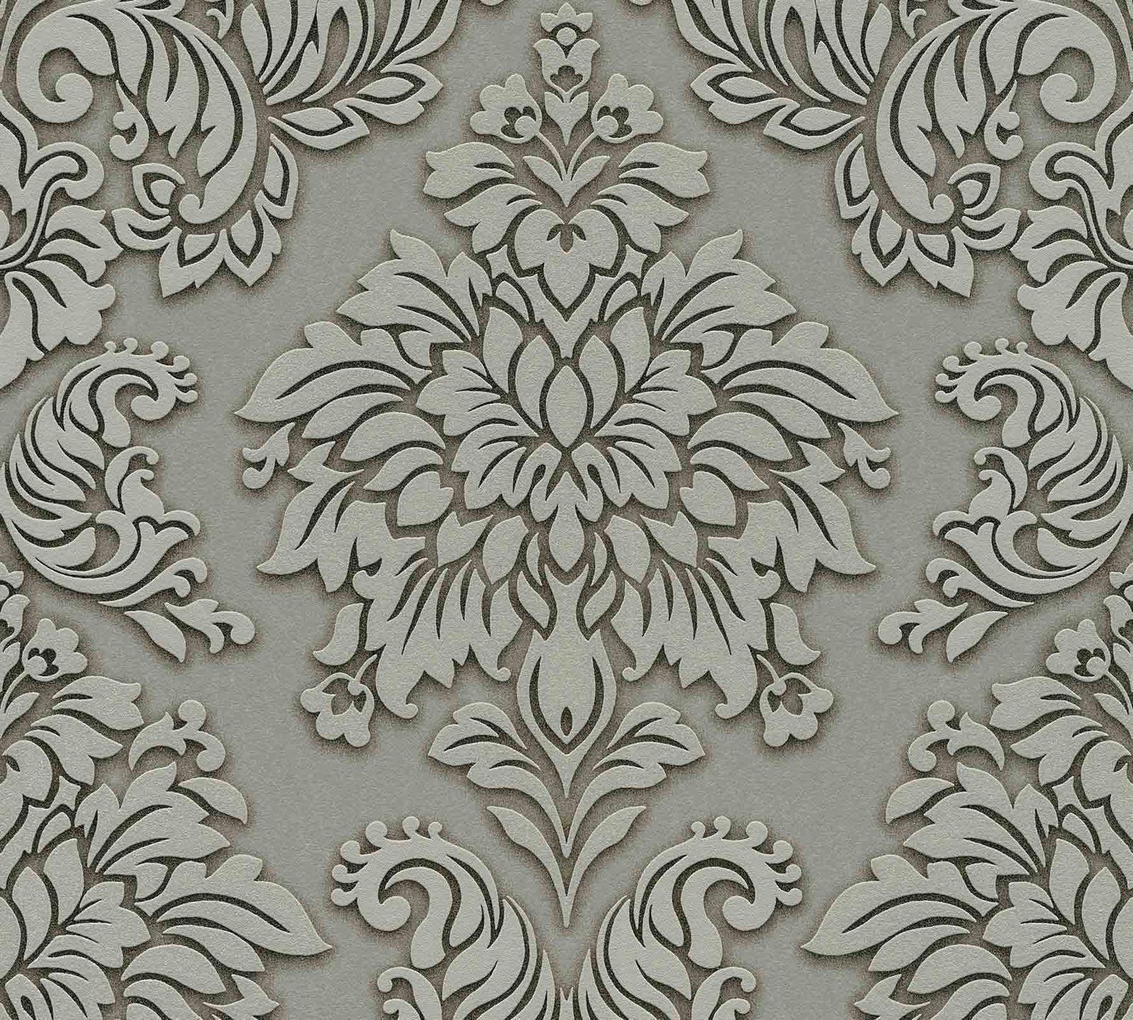 f01880b60f30 Non-Woven Wallpaper Baroque green grey Glitter 36898-1 001