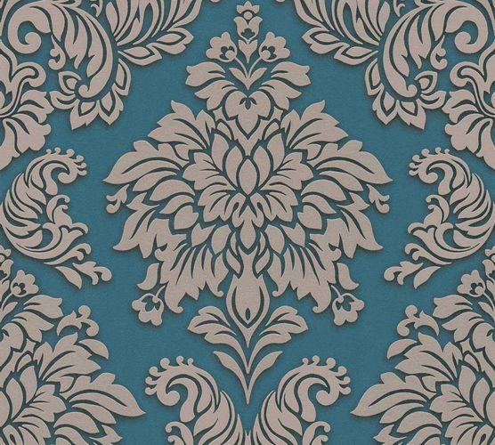 Vliestapete Barock blau beige Glitzer 36898-5