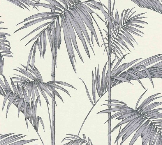 Vliestapete Bambus Blätter silber weiß Metallic 36919-2 online kaufen