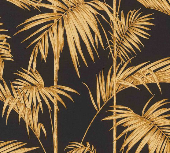 Non-Woven Wallpaper Bamboo Leaves Design black orange 36919-5 online kaufen