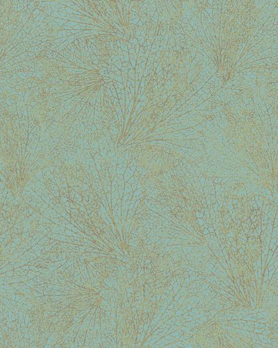Non-Woven Wallpaper leave pattern blue metallic 31333