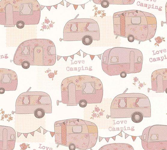 Kids Wallpaper Love Camping rose apricot Metallic 34345-1 online kaufen