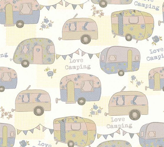 Kids Wallpaper Love Camping yellow blue Metallic 34345-2 online kaufen