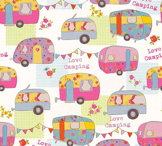 Kids Wallpaper Love Camping colourful Metallic 34345-3 online kaufen