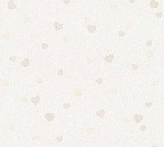 Kids Wallpaper Hearts Pattern cream beige Glitter 35750-1 online kaufen