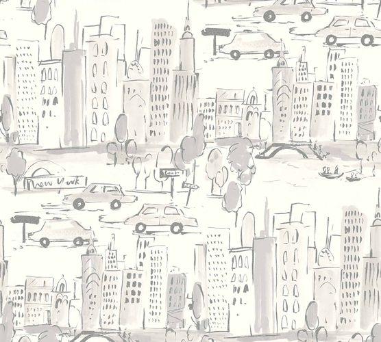 Kindertapete New York City weiß silber Metallic 36753-3 online kaufen