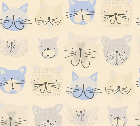 Kids Wallpaper Cat Kitten beige blue 36754-1 online kaufen
