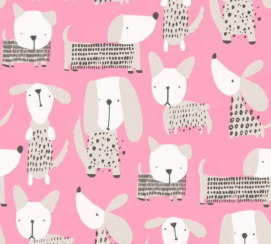 Kids Wallpaper Dog Comic pink white Metallic 36755-2 online kaufen
