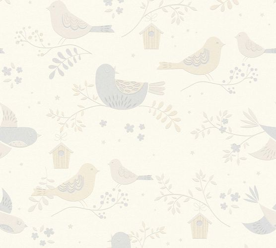 Kids Wallpaper Birds Flowers beige Glitter 36756-1 online kaufen