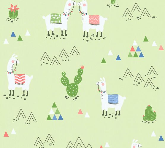 Kids Wallpaper Llama Cacti green colourful 36985-2