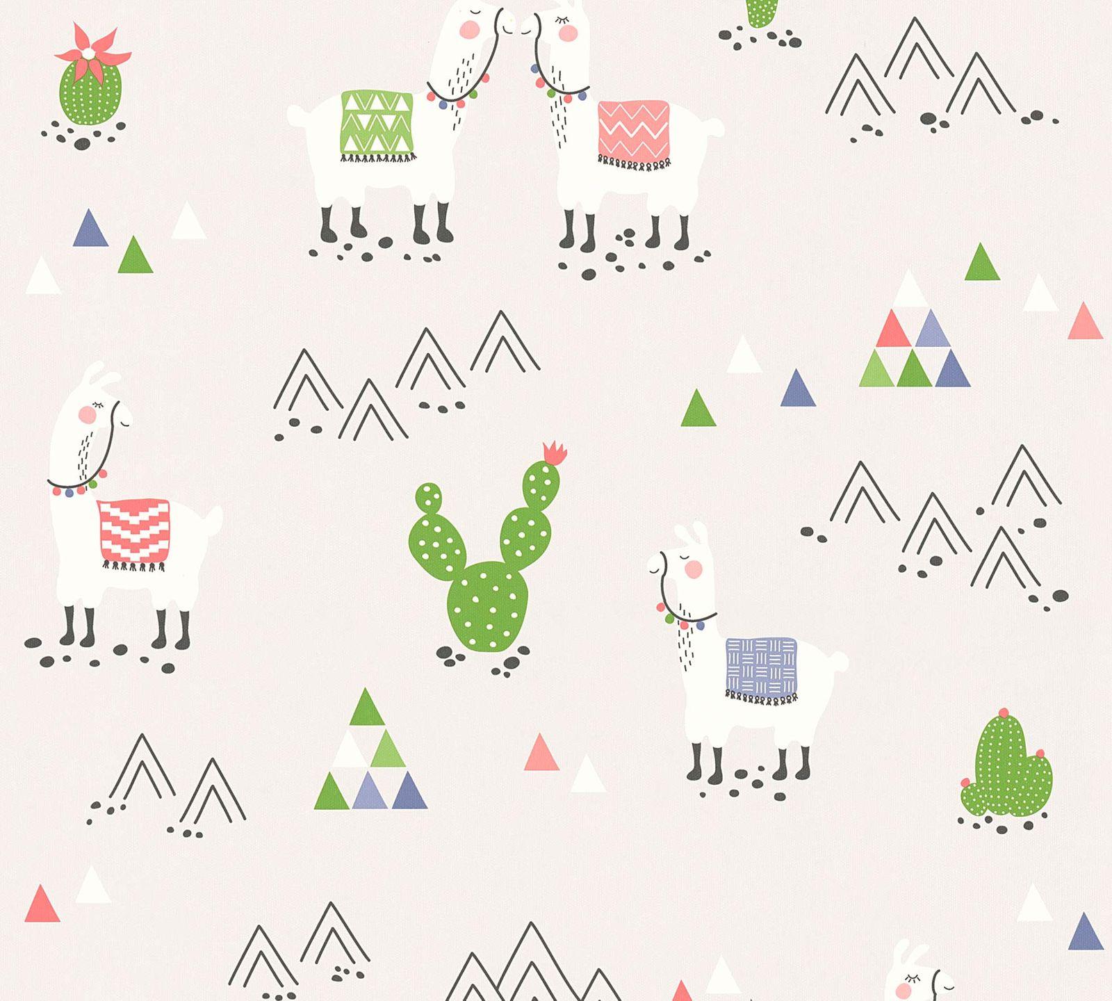 Kids Wallpaper Llama Cacti light grey colourful 36985-3