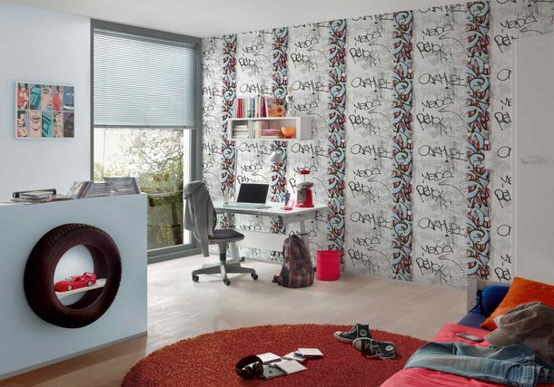 Kids Wallpaper Graffiti Concrete grey blue 36986-1 online kaufen