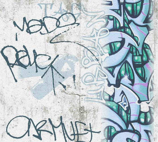 Kids Wallpaper Graffiti Concrete grey blue 36986-2