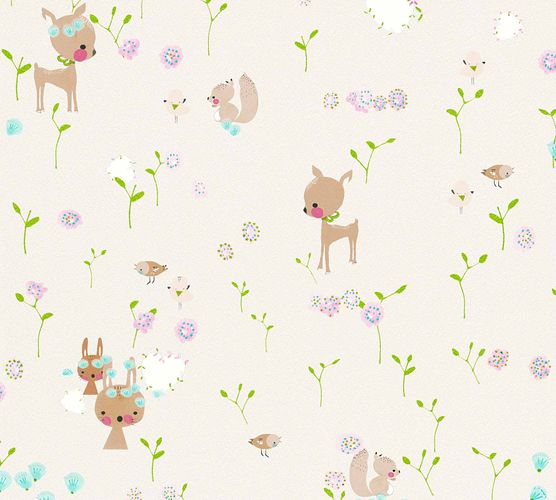 Kids Wallpaper Rabbit Doe grey colourful Metallic 36988-1 online kaufen