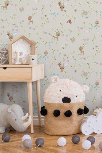 Kids Wallpaper Rabbit Doe grey colourful Metallic 36988-1 online kaufen