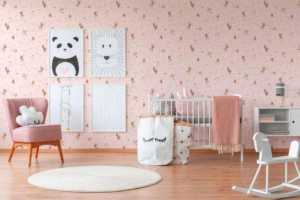 Kindertapete Hasen Reh Floral rosa bunt Metallic 36988-3 online kaufen