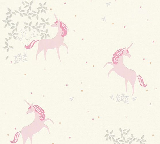 Kids Wallpaper Unicorns Floral white rose Glitter 36989-1 online kaufen