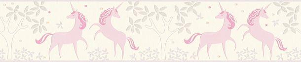 Kinderborte Einhörner Floral weiß rosa Glitzer 36990-1