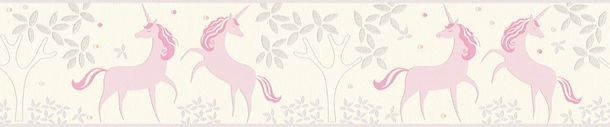 Kids Border Unicorns Floral white rose Glitter 36990-1 online kaufen