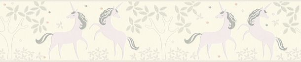 Kids Border Unicorns Floral white lilac Glitter 36990-2