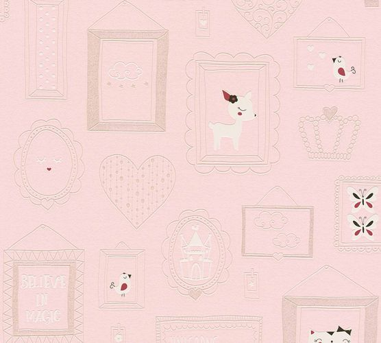 Kids Wallpaper Collage Cat Doe rose white Glitter 36991-2