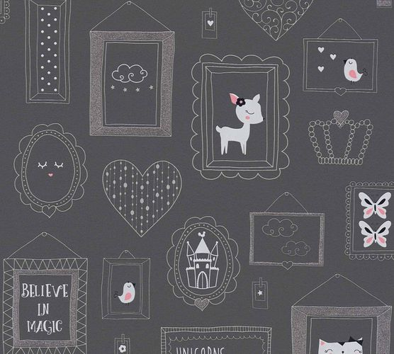 Kids Wallpaper Cat Doe black white Glitter 36991-3 online kaufen
