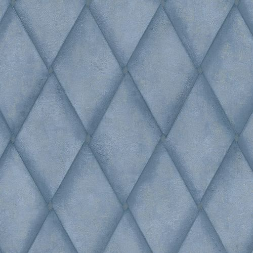 Non-woven Wallpaper Rhombus Concrete Look blue metallic 83937 online kaufen