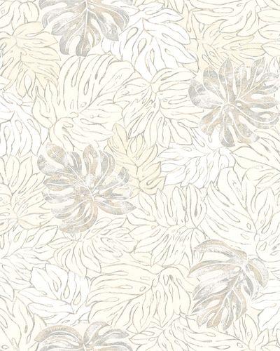 Non-Woven Wallpaper Leaves cream beige metallic 30431