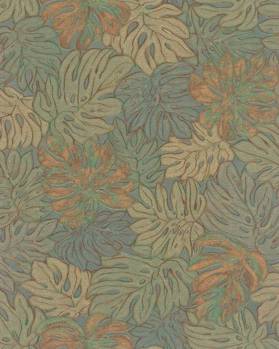 Non-Woven Wallpaper Leaves green copper metallic 30434 online kaufen