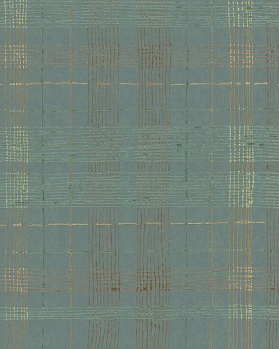 Non-Woven Wallpaper Check blue green metallic 30437