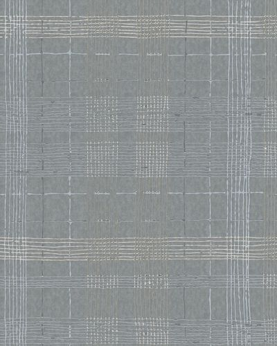Non-Woven Wallpaper Check grey gold metallic 30438