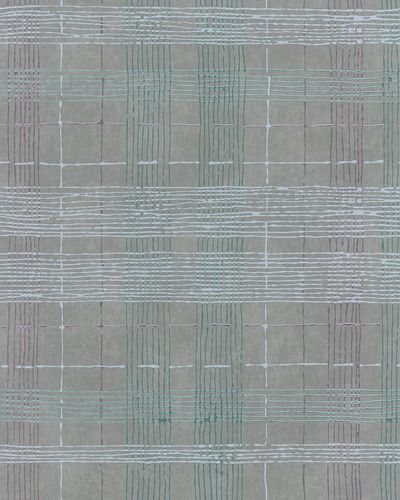 Non-Woven Wallpaper Check grey green metallic 30439 online kaufen