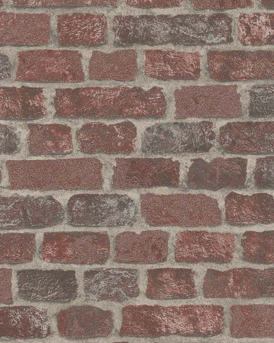 Non-Woven Wallpaper brick 3D granules dark red 58408