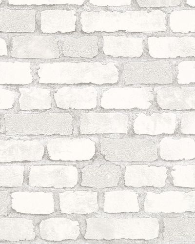 Non-woven Wallpaper Brick 3D Granulate white grey 58412