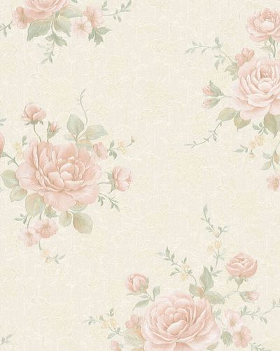Non-Woven Wallpaper Roses Vintage cream rose Gloss 30613