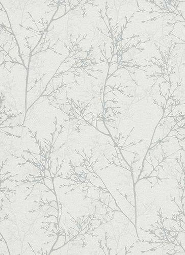 Non-Woven Wallpaper Branches white grey Gloss 5432-31