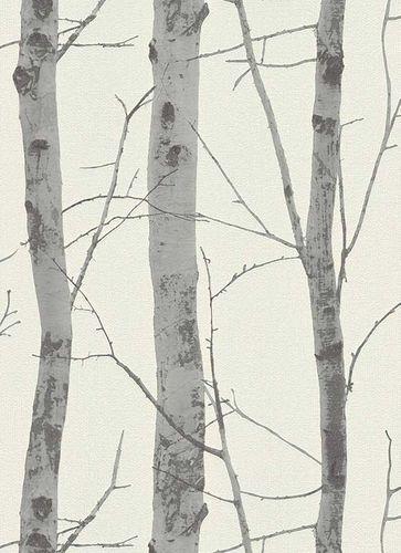 Non-Woven Wallpaper Birch white grey Instawalls 5433-47
