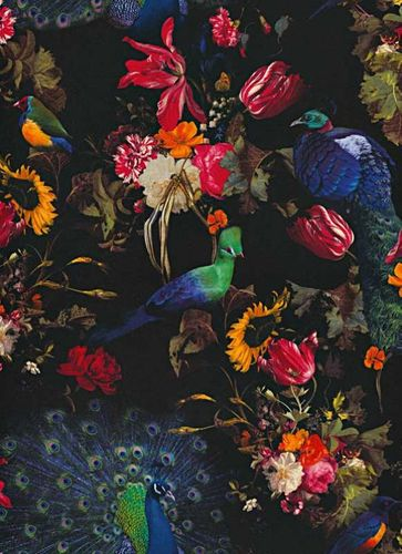 Non-Woven Wallpaper Flowers Birds black colourful 6371-15 online kaufen