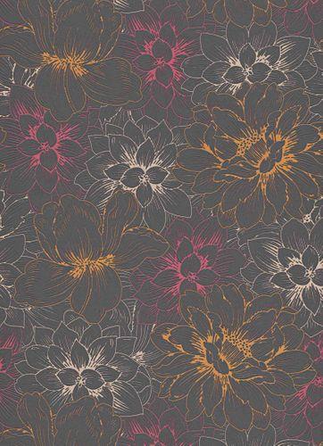 Vinyl Wallpaper Flowers black red Glitter 5425-04 online kaufen