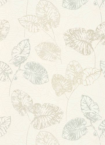 Vinyl Wallpaper Leaves Tropic white cream Gloss 5426-02 online kaufen