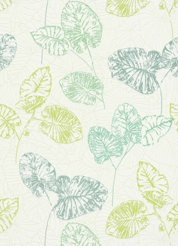 Vinyl Wallpaper Leaves Tropic white green Gloss 5426-07 online kaufen