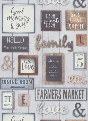 Vinyl Wallpaper Wood Sign Diner grey red brown 6364-08