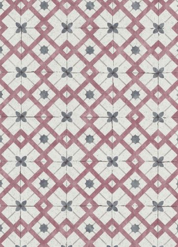 Vinyl Wallpaper Tiles Retro light grey dark red 6366-06 online kaufen