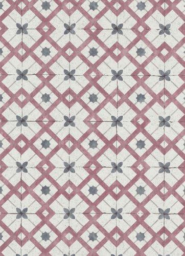 Vinyl Wallpaper Tiles Retro light grey dark red 6366-06